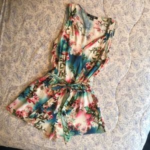 Sexy Floral Romper with Tie at Waist